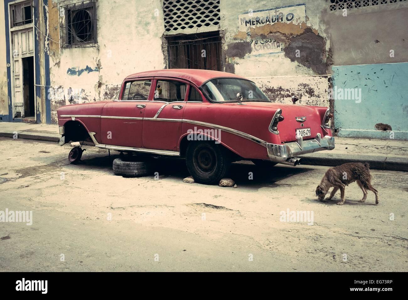 Cuban classic car parked in a central Havana street. Cuba. - Stock Image