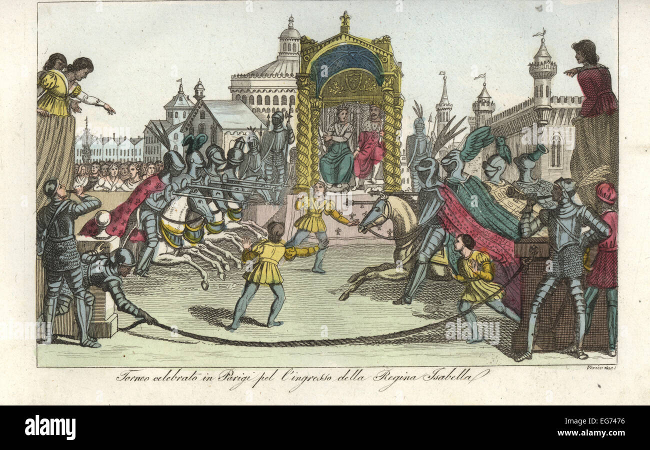 Tournament held to celebrate the entrance of Queen Isabella of Bavaria into Paris, 1389. - Stock Image