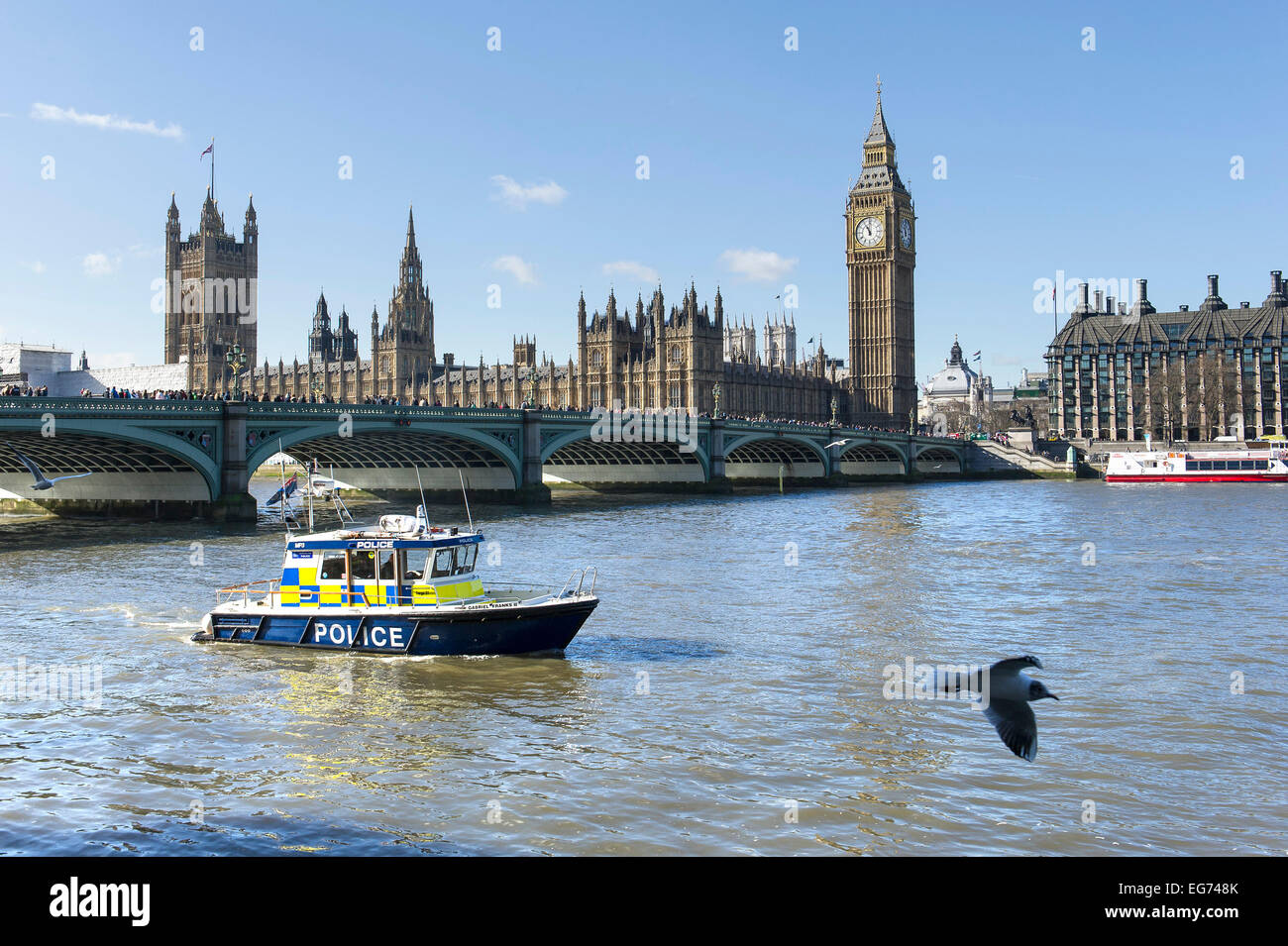 A Metropolitan Police fast patrol vessel on the River Thames near Westminster Bridge. - Stock Image