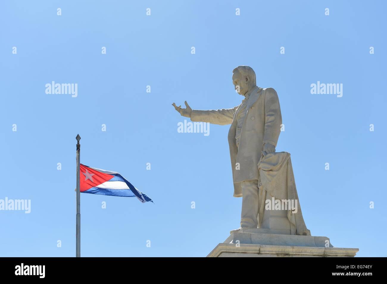Jose Marti statue in the central square of Cienfuegos Cuba - Stock Image