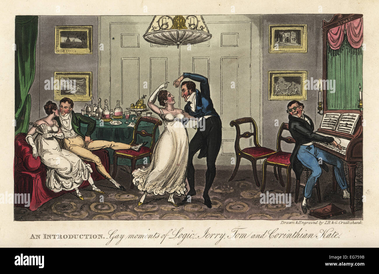 English Georgian dandy and belle dancing a waltz while a man plays the piano in a parlour. An Introduction: Gay - Stock Image