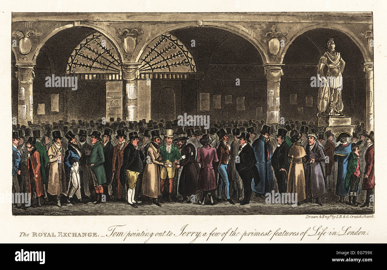English dandies meeting merchants in the Royal Exchange, London, 1820. Tom pointing out to Jerry a few of the primest - Stock Image