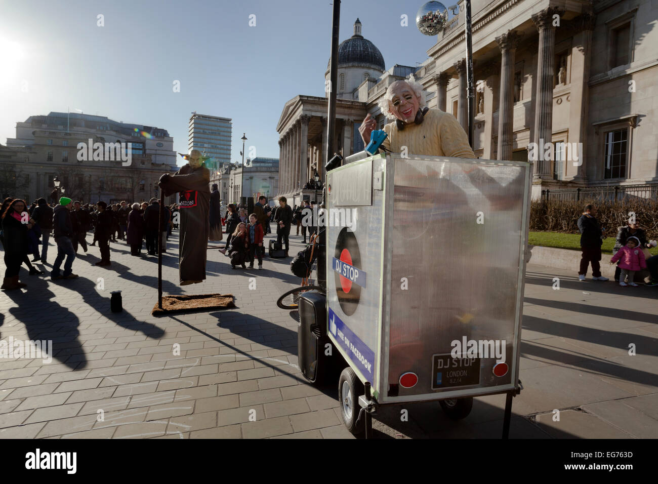 DJ Grandpa entertains the tourists in Trafalgar Square - Stock Image