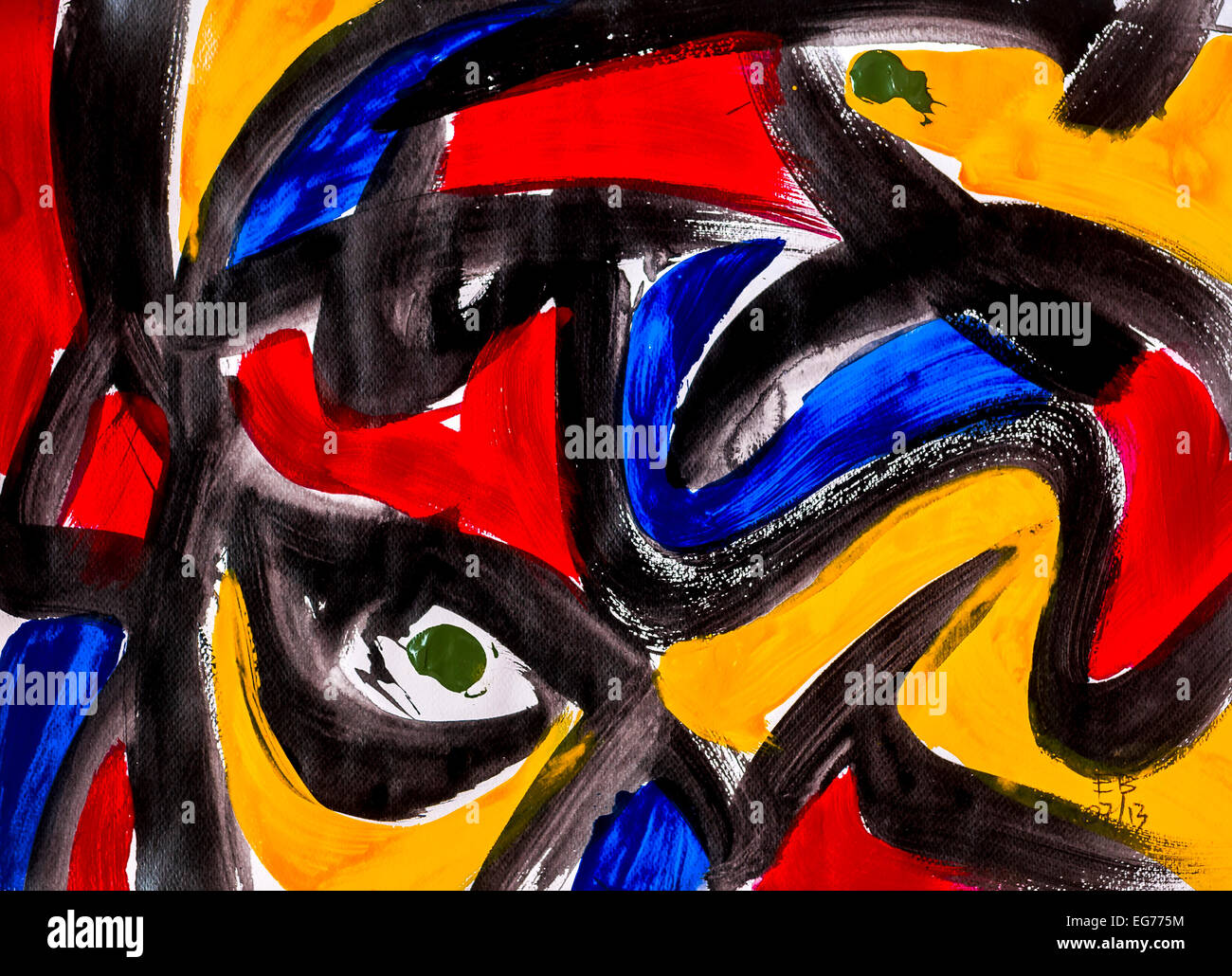 """Modern abstract acrylic painting """"Stained glass"""" by Ed Buziak - France. - Stock Image"""