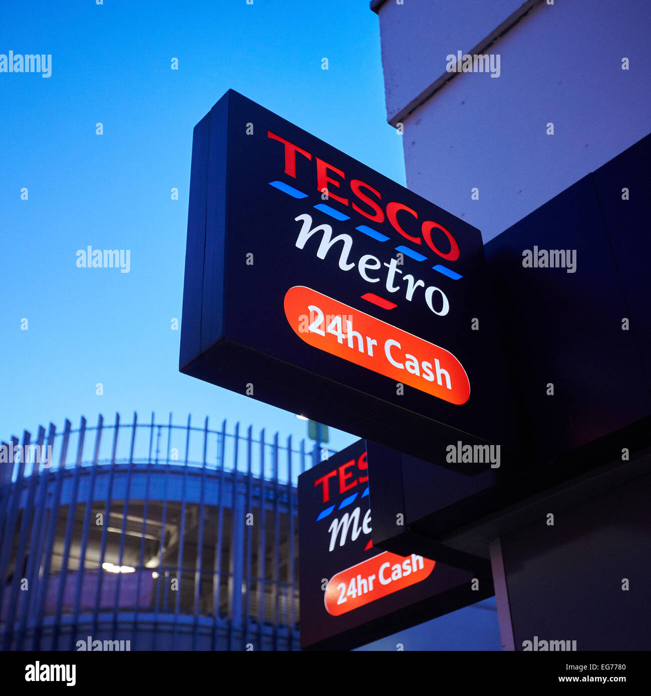 Detail view of the Tesco Metro store in Bicester. The store is one of 43 unprofitable locations being closed nationwide - Stock Image