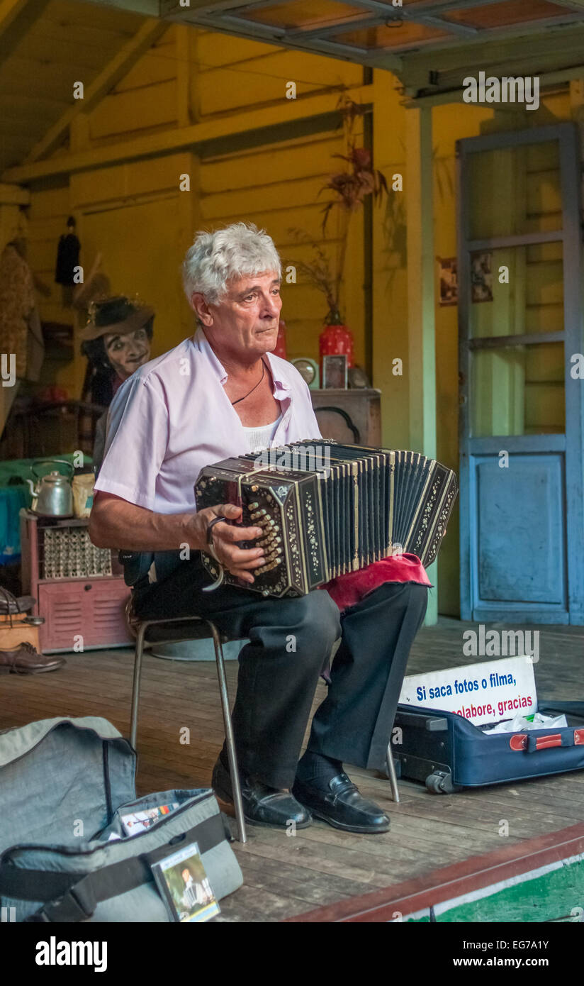 BUENOS AIRES, ARGENTINA - February, 24: La Boca bandoneonist, street musician on February, 24, 2010 in Buenos Aires, - Stock Image