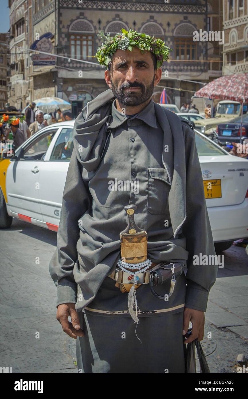 SANAA, YEMEN - February, 20: Traditionaly dressed yemeni man in the street of Sanna, Yemen, on February, 20, 2011 - Stock Image