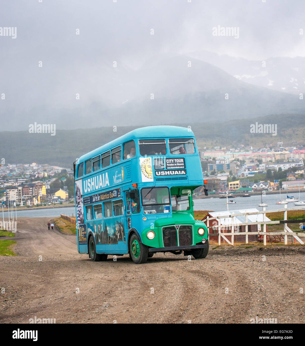 USHUAIA, ARGENTINA - March, 01: Double decker tourist bus in Usuaia, Argentina on March, 01, 2010 - Stock Image