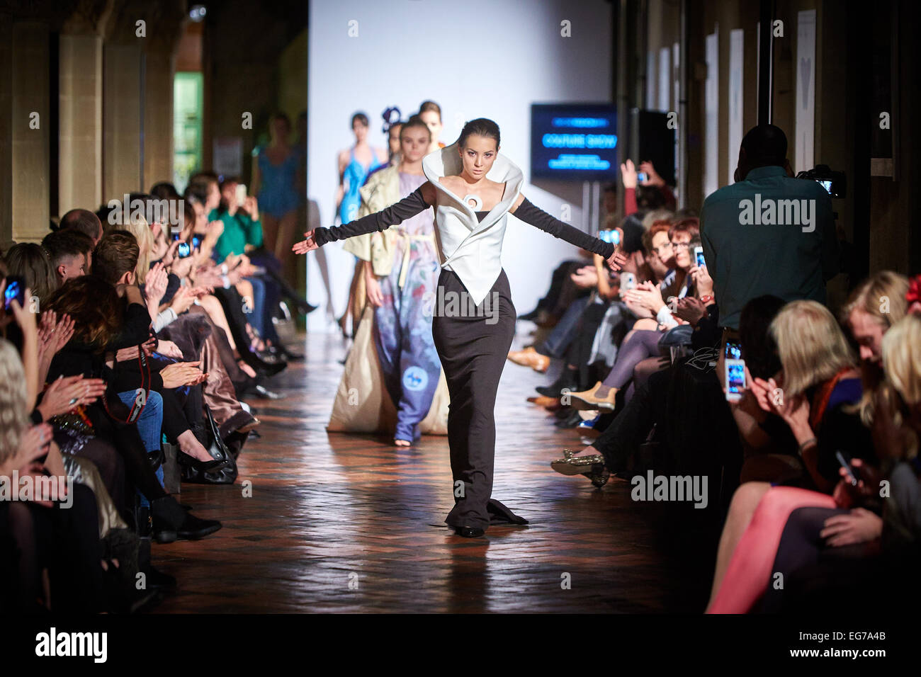 Models on the catwalk at Oxford Fashion Week - Stock Image