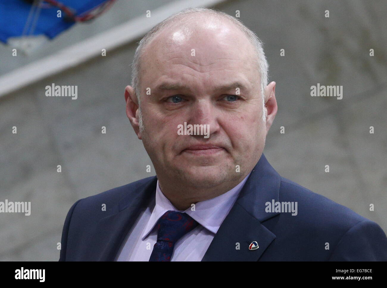 Moscow, Russia. 18th Feb, 2015. Severstal's acting head coach Igor Petrov seen ahead of a 2014/15 KHL Regular - Stock Image