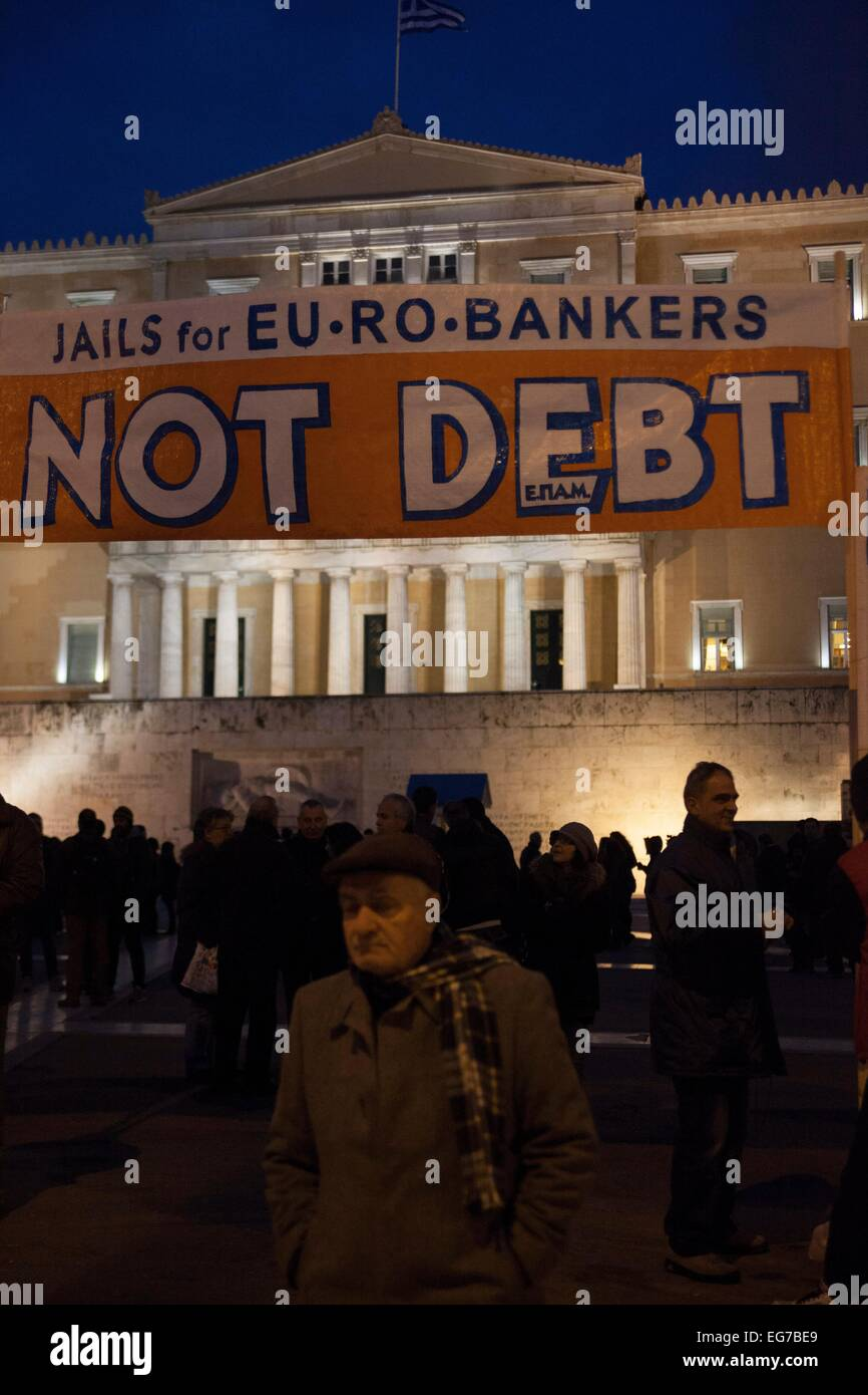 Banner 'No debt'. Protest of Greeks for support for negotiation economic situation of Greece. 16.02.2015 - Stock Image