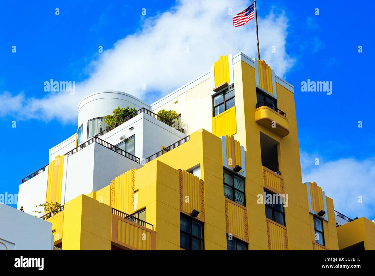 Art Deco building design on Ocean Drive, South Beach Miami, Florida, USA - Stock Image