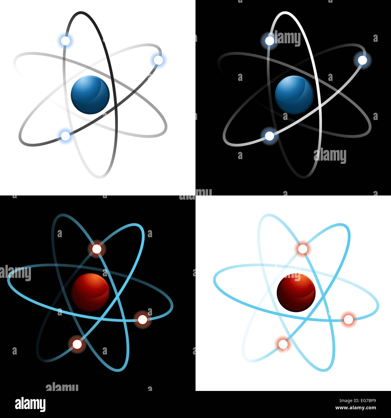 An image of a set of atom icons. Stock Photo