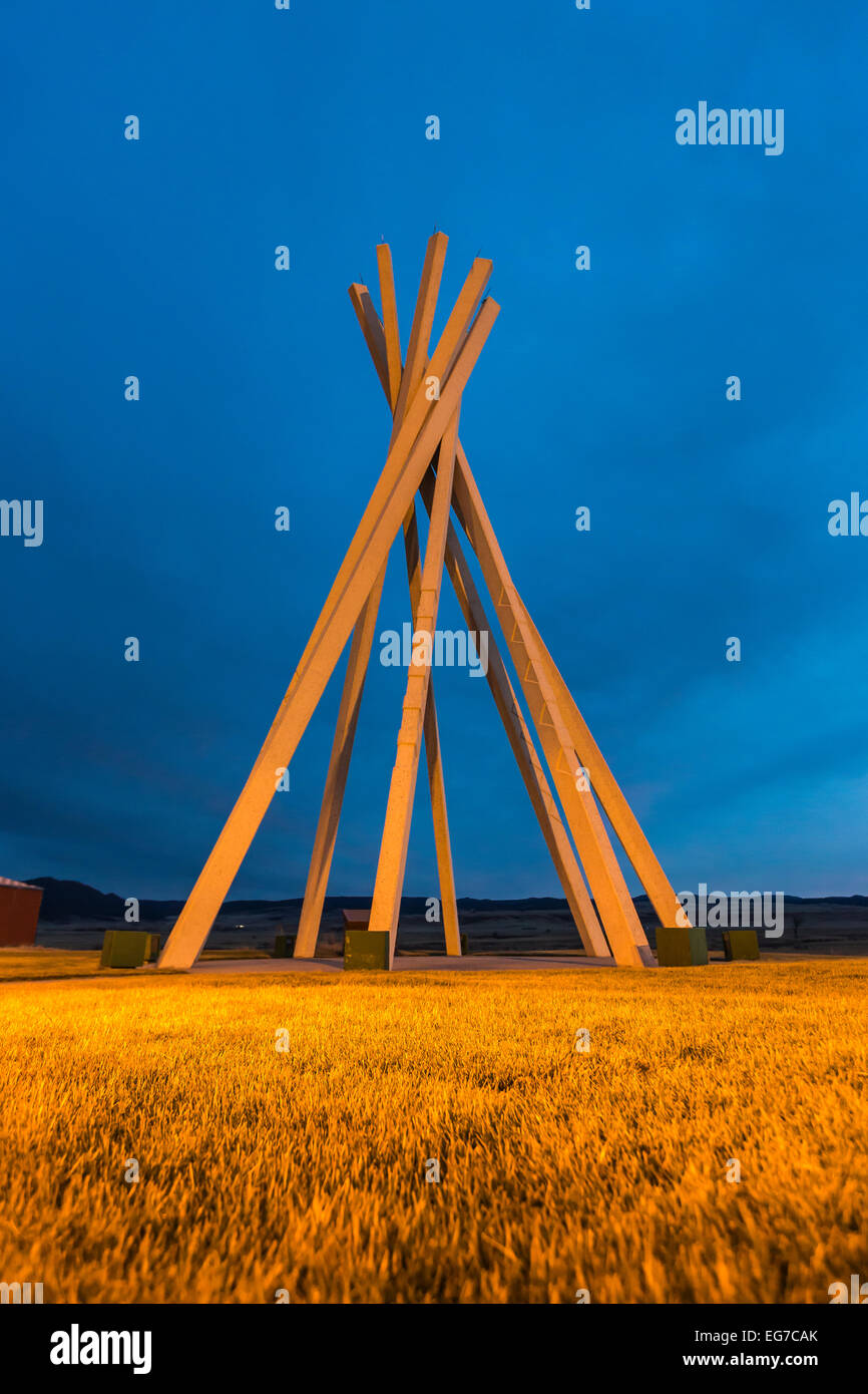 Plains Indian tipi motif for a structure in a South Dakota rest area, designed in the late 1960s by architect Ward - Stock Image
