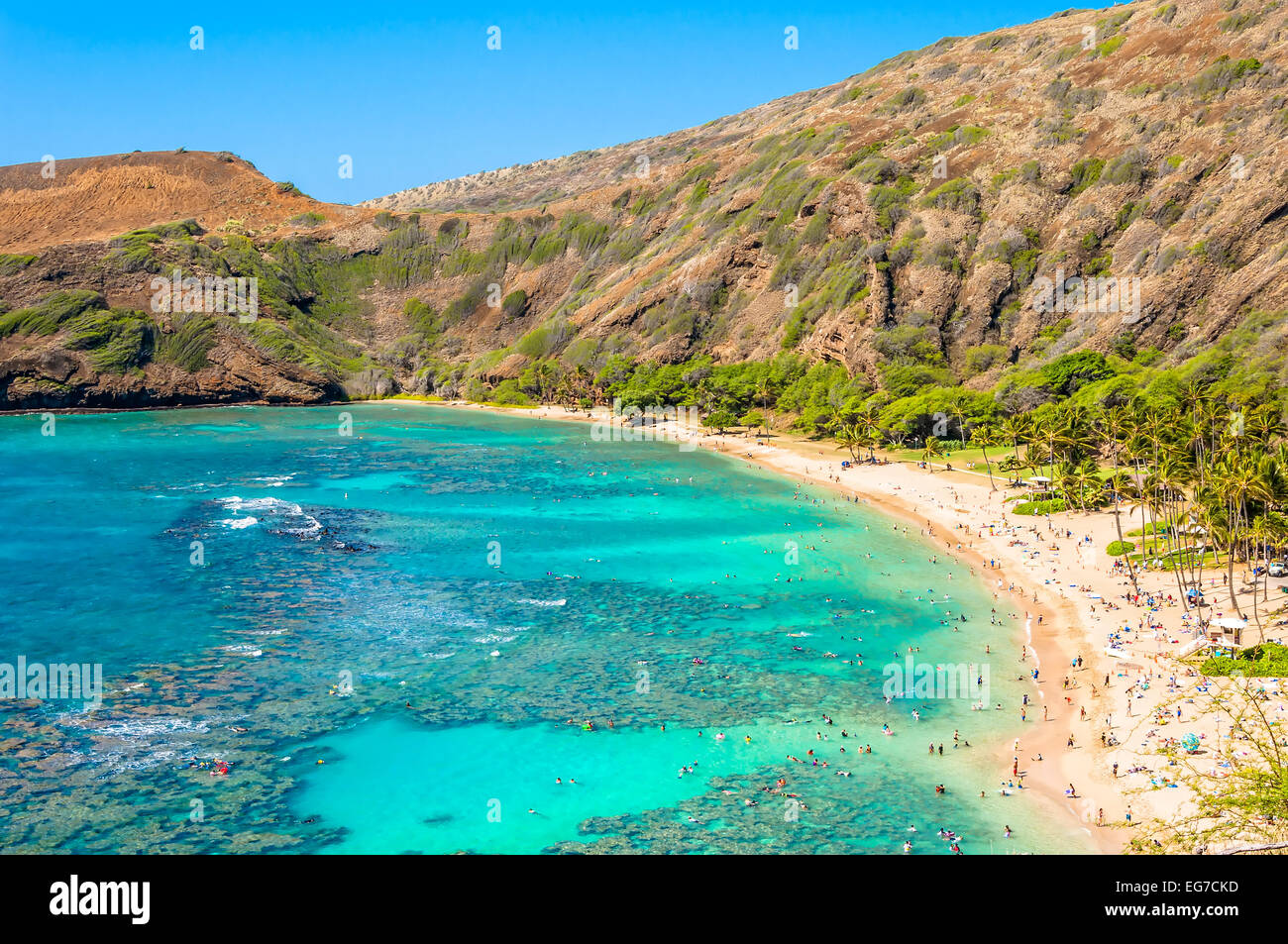 day view of snorkeling tropical paradise Hanauma bay in Oahu, Hawaii - Stock Image