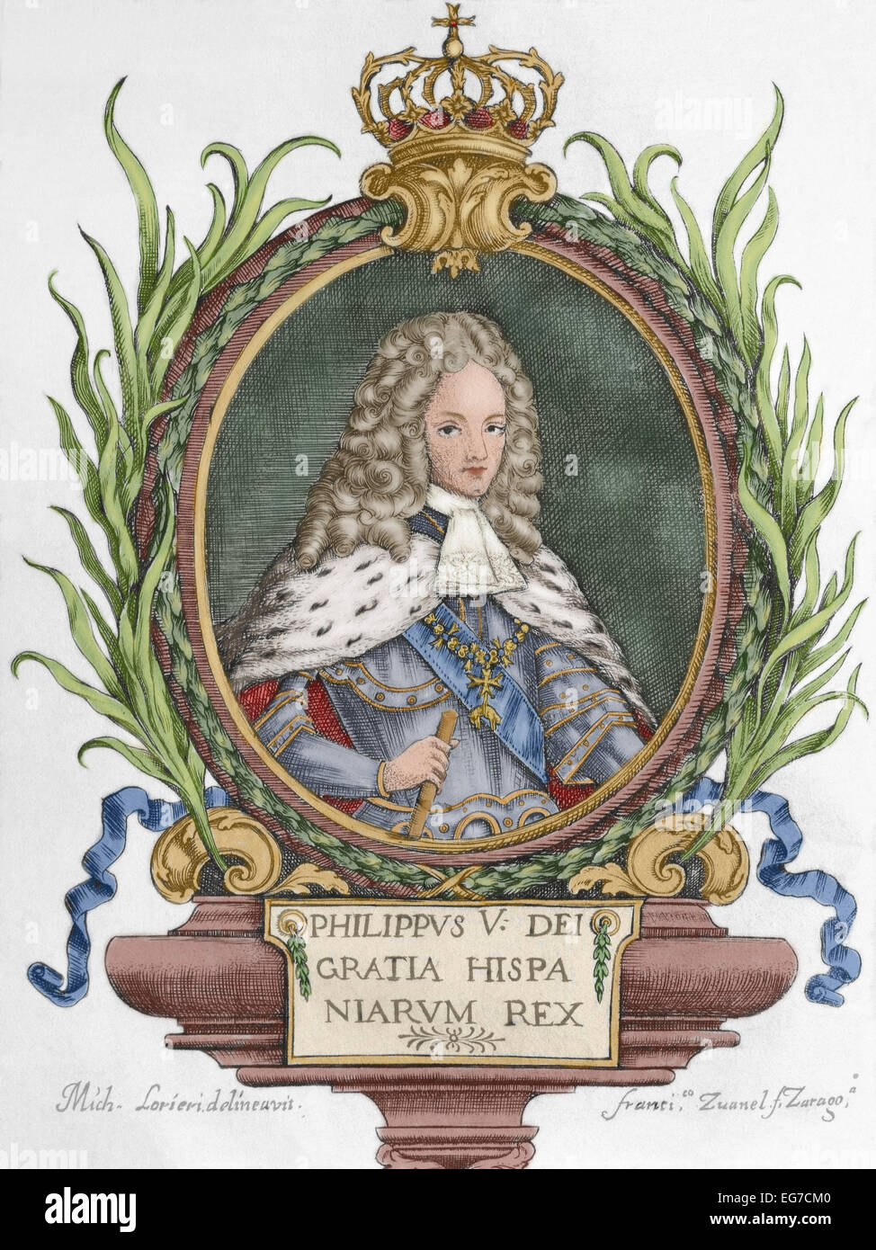 Philip V (1683-1746). King of Spain (1700-january, 1724 and september 1724-1746). He abdicated in favour of his Stock Photo