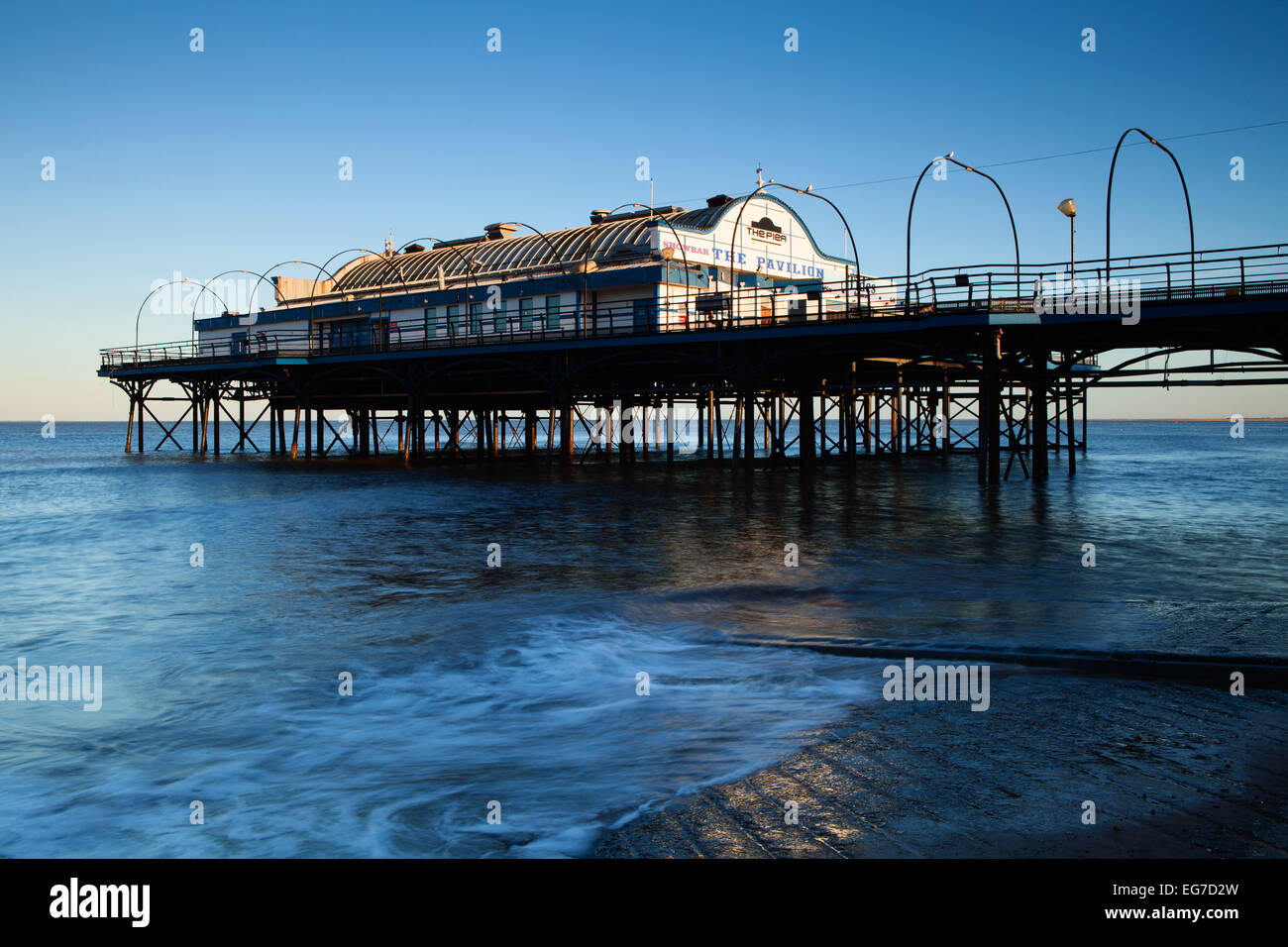 Cleethorpes Pier on the North East Lincolnshire coast at high tide. February 2015. - Stock Image