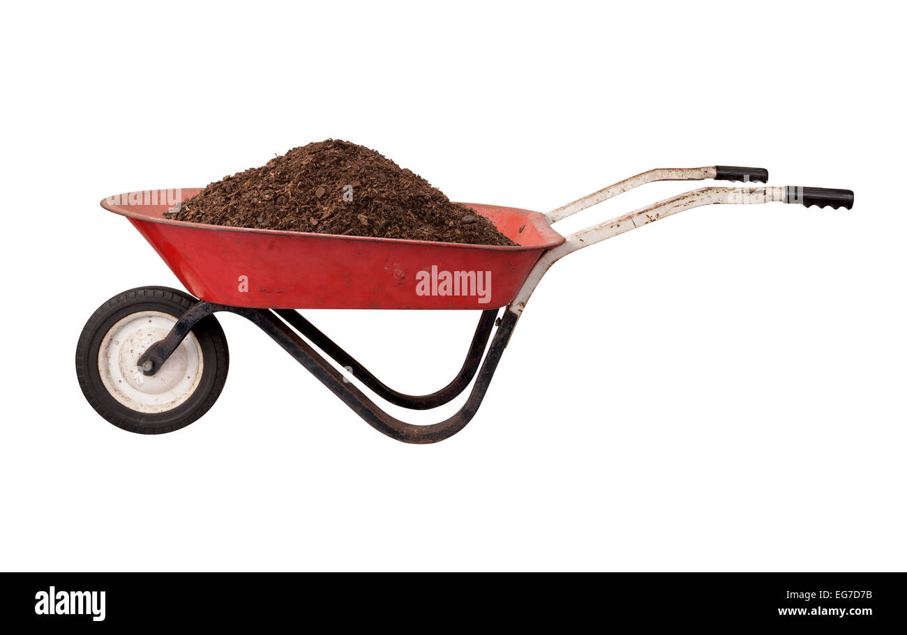 Rusty Red Wheelbarrow loaded with Soil, isolated on white. - Stock Image