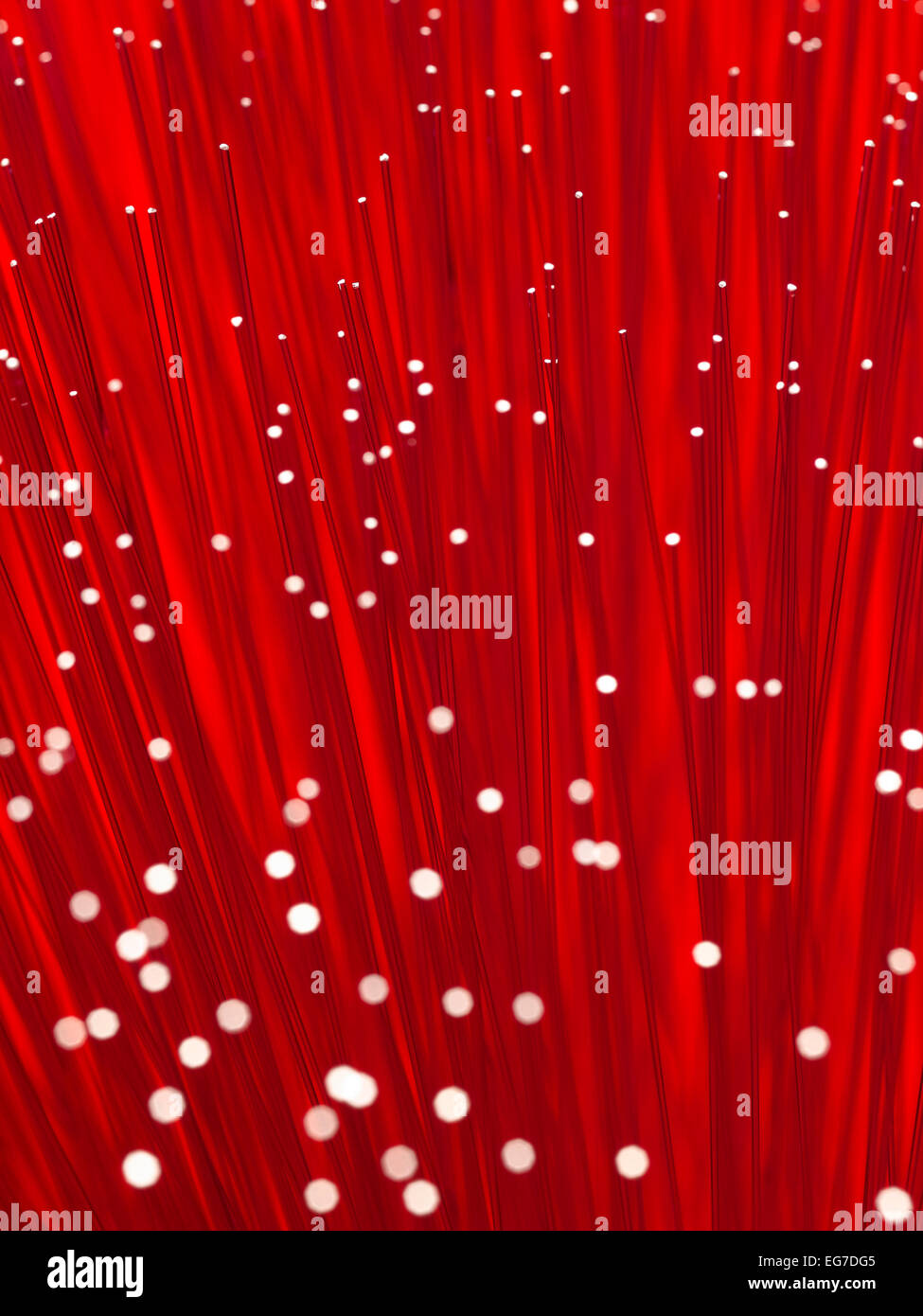 Fiber Optic cable with a Red Background - Stock Image