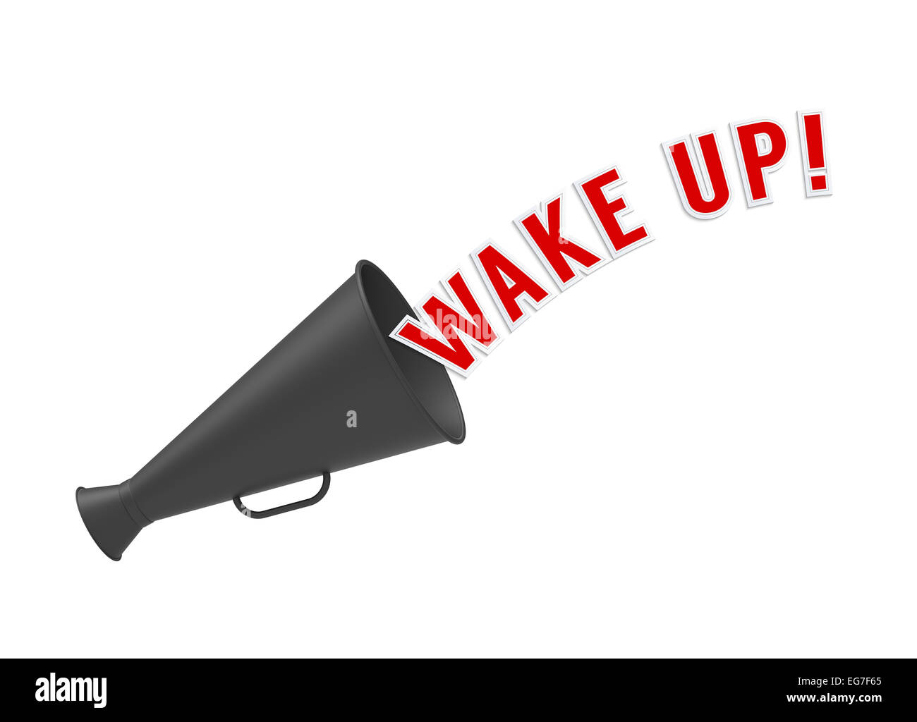 Megaphone on white background with pop-up caption 'Wake Up'. Concept of alarm or call to rouse from sleep, - Stock Image