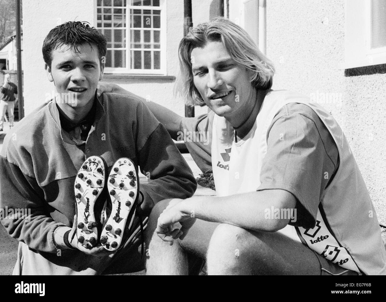 Wales International Robbie Savage (r) at the Welsh training camp 1995 - Stock Image