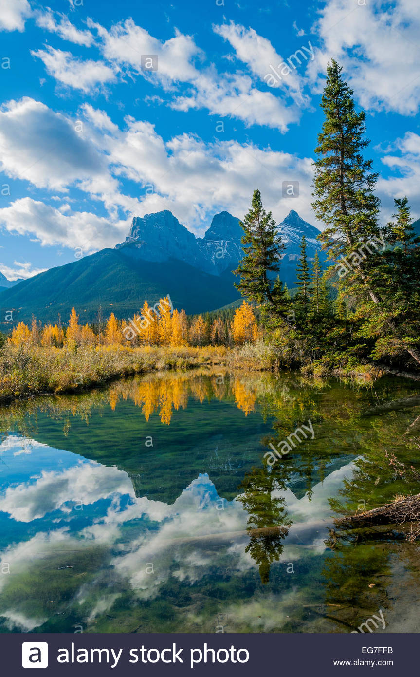 The Three Sisters, Canmore, Alberta - Stock Image