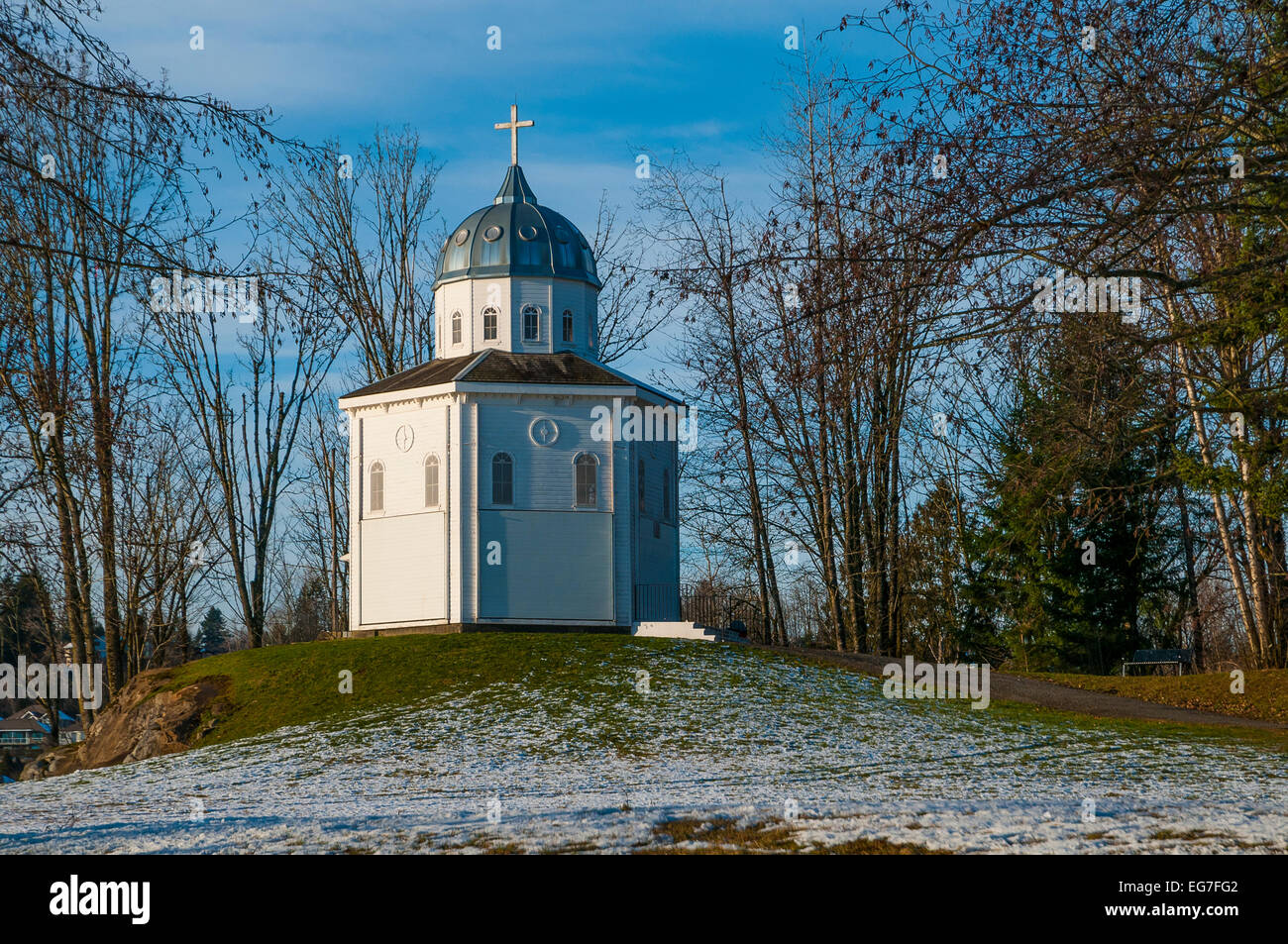 The Grotto (of our Lady of Lourdes) , Fraser River Heritage Park, Mission, British Columbia, Canada - Stock Image