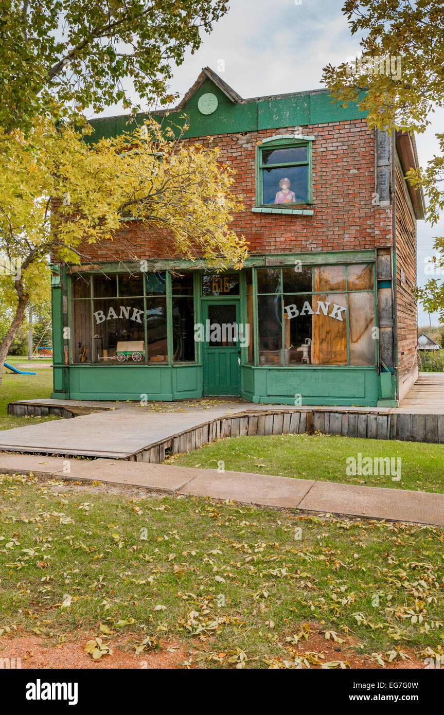 Dilapidated former bank building, Rowley, Alberta, Canada - Stock Image
