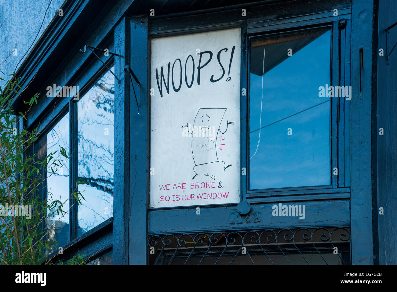 Sign in broken window - Stock Image