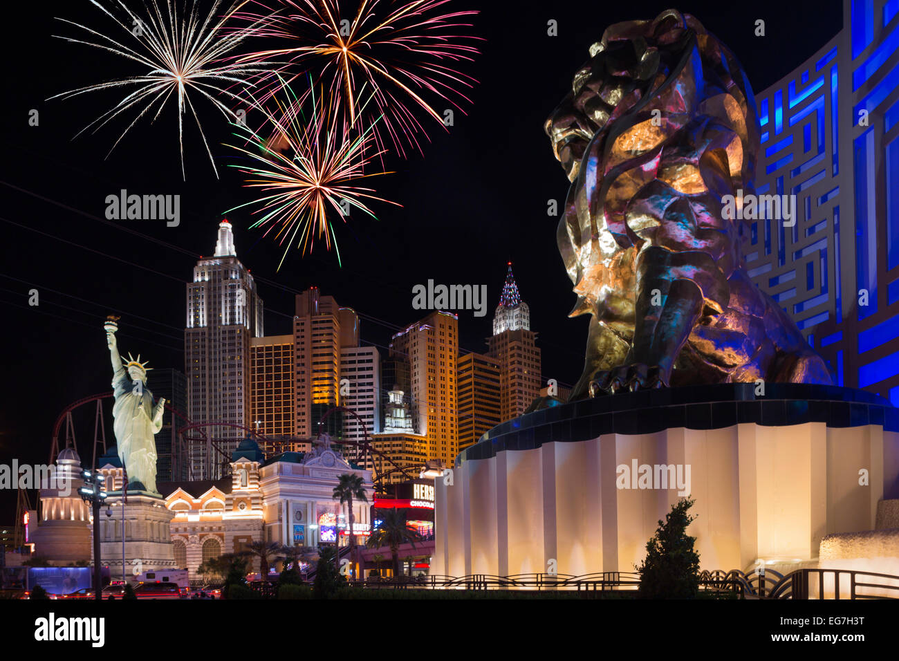 LION MGM GRAND NEW YORK NEW YORK HOTEL CASINOS THE STRIP LAS VEGAS NEVADA USA - Stock Image