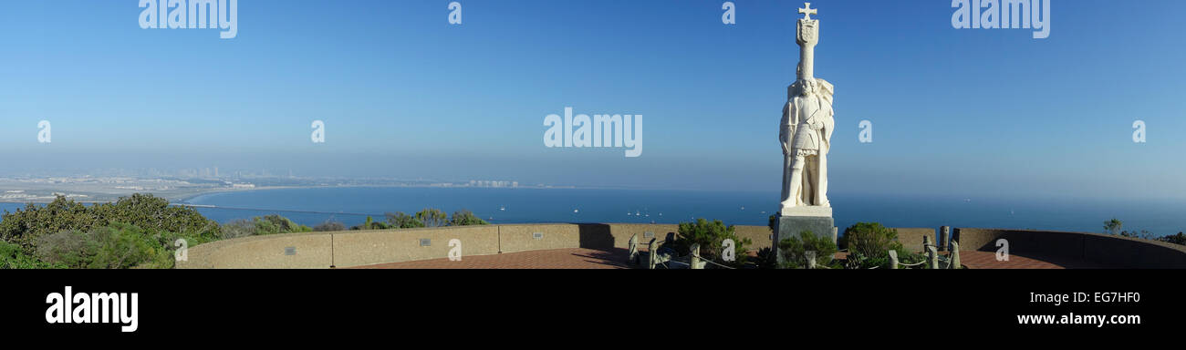 Portuguese 16C explorer Juan Rodriguez Cabrillo monument on Point Loma in San Diego Southern California USA - Stock Image