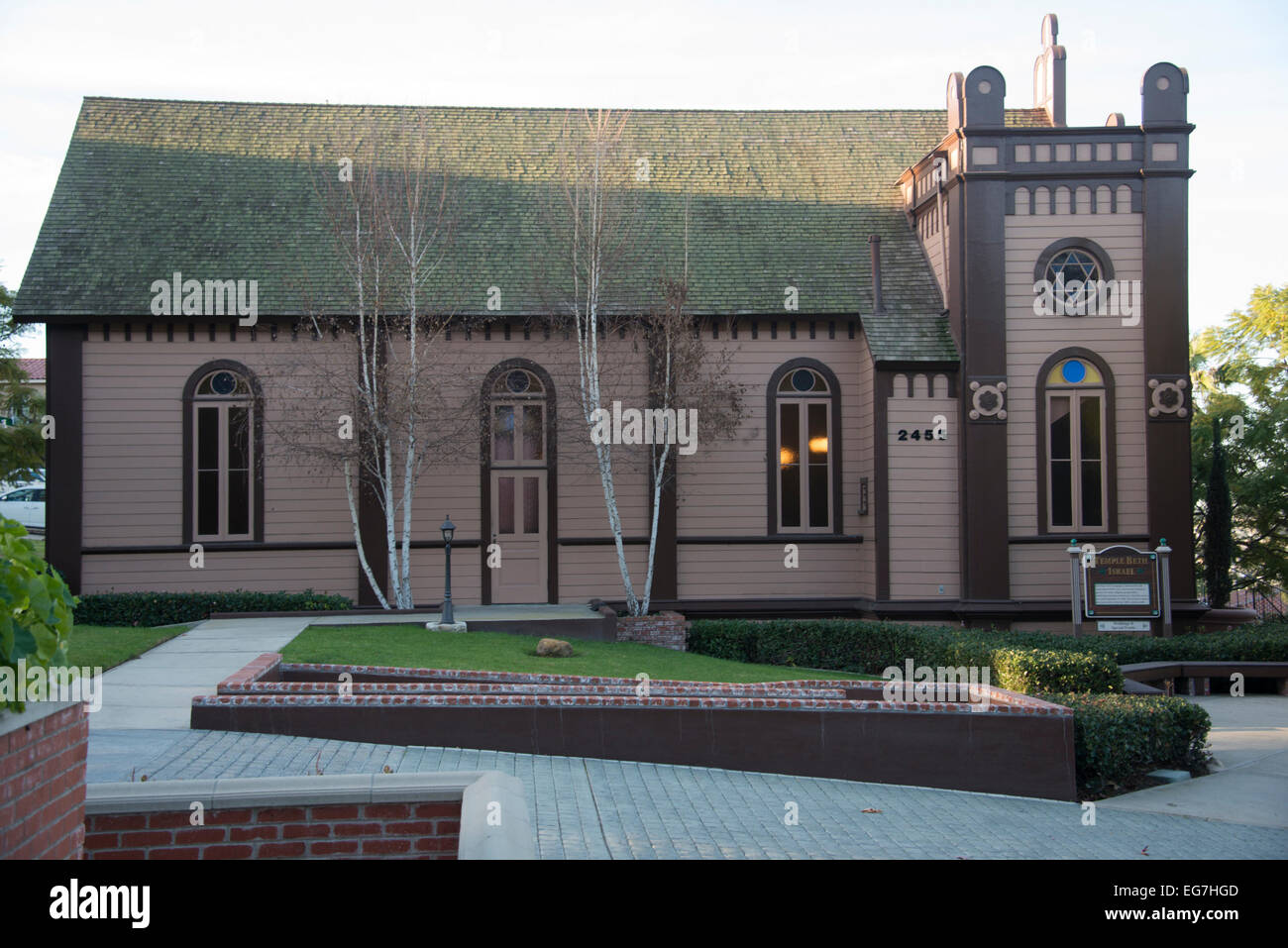 Beth Israel synagogue in Heritage Square,a street of transplanted historic buildings, in Old Town, San Diego, California, - Stock Image