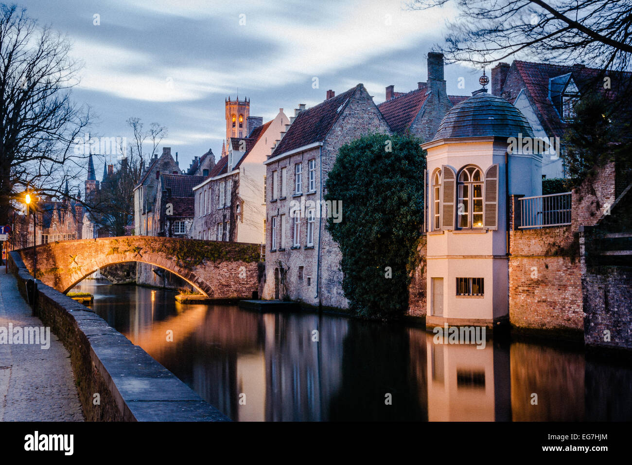 canal and historic buildings bruge belgium