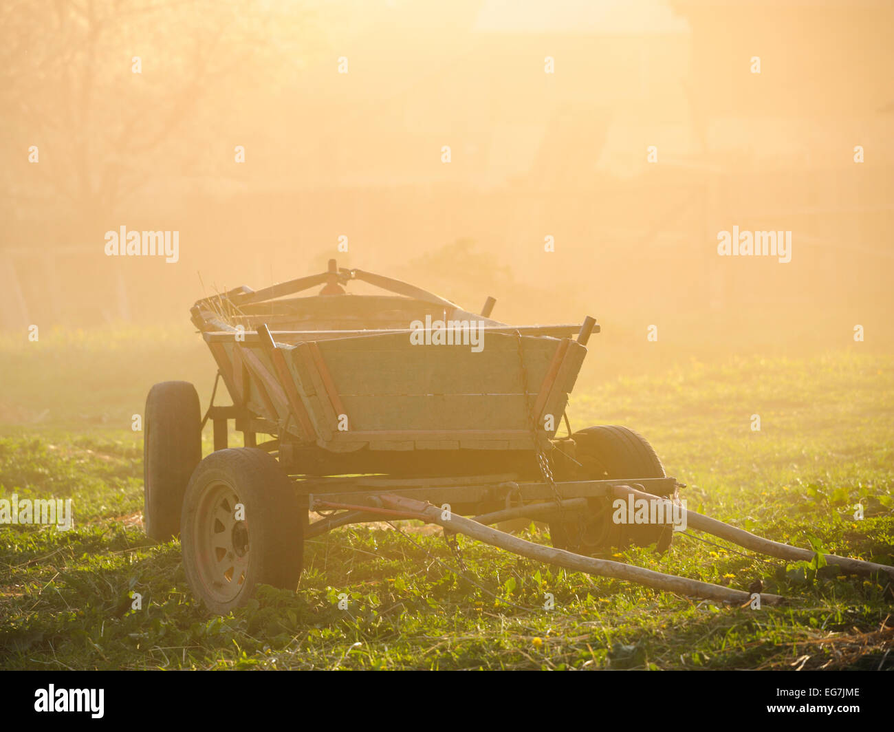 Old vintage hay wagon sitting abandoned on the grass in sunset. Dusk and dawn. Romania, Transylvania, Ciuc, hungarian Stock Photo