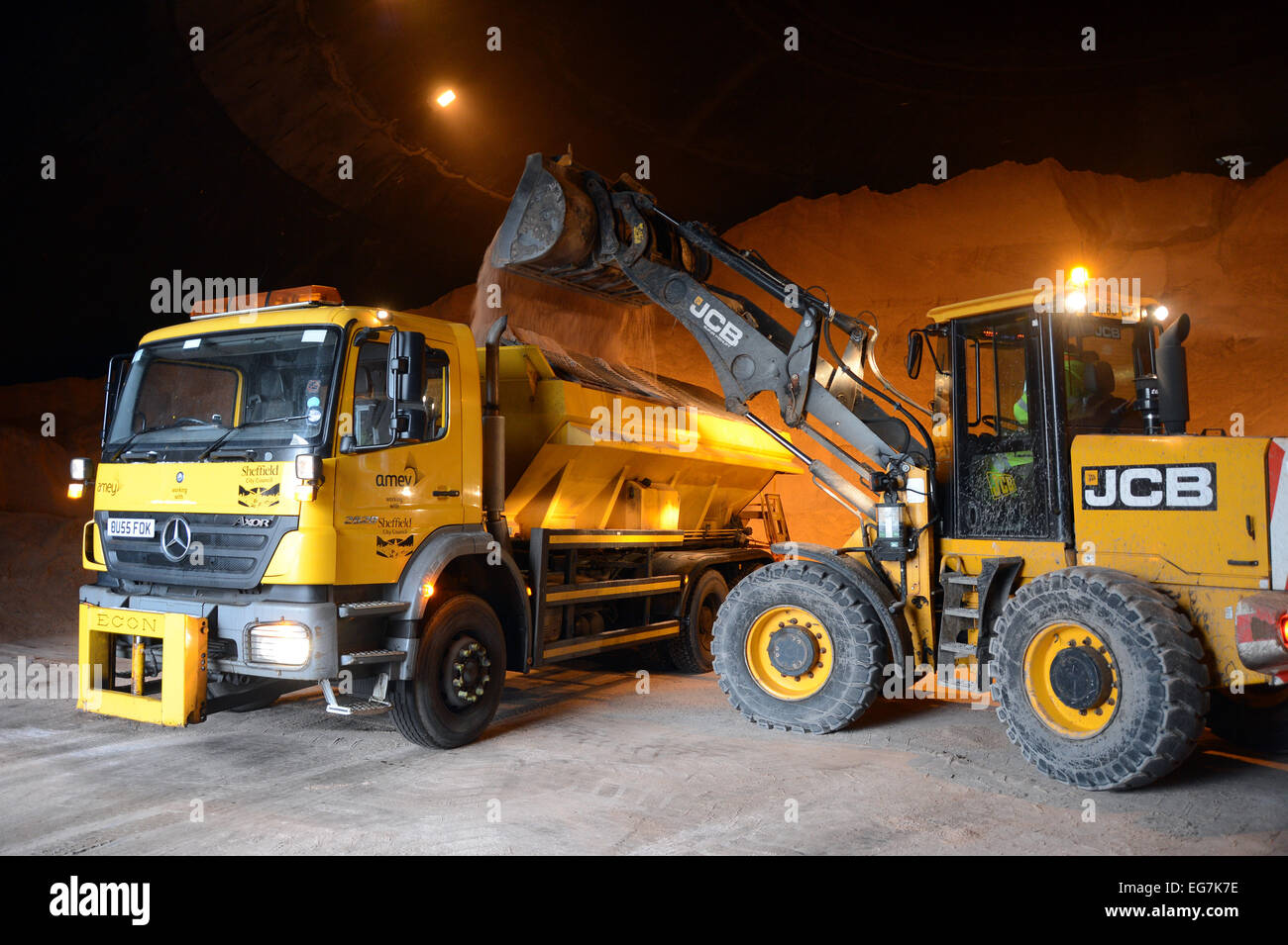 Gritters get ready to hit the roads of Sheffield are prepared at the Olive Grove Road depot as snow is forecast - Stock Image