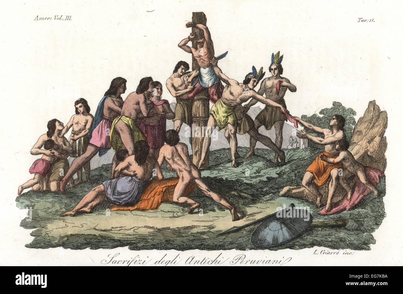 Human sacrifice among the ancient Peruvians (Incas). - Stock Image