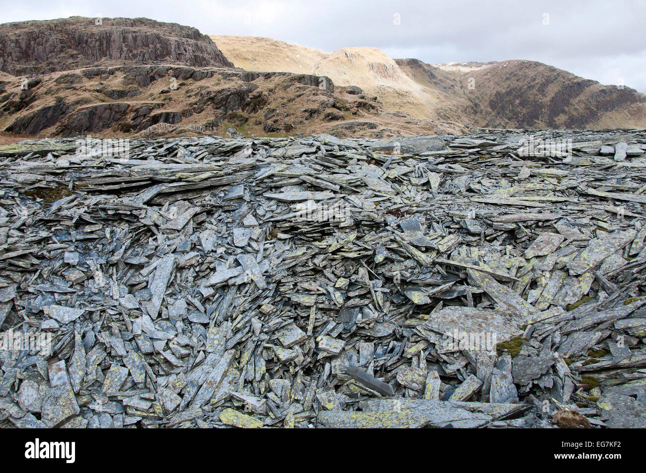 Snowdonia National Park, Gwynedd, Wales, UK. 17th February, 2015. Huge piles of slate spoil are seen at the abandoned Stock Photo