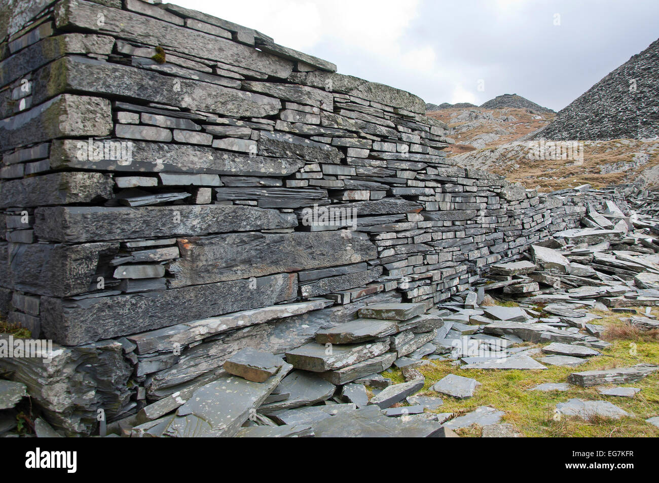 Snowdonia National Park, Gwynedd, Wales, UK. 17th February, 2015. A very precise wall is seen at the abandoned Rhosydd Stock Photo