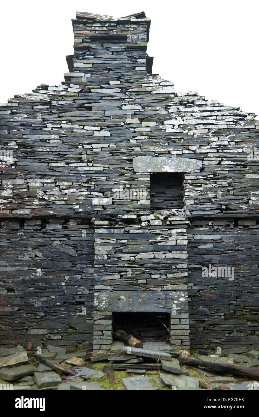 Snowdonia National Park, Gwynedd, Wales, UK. 17th February, 2015. A gable wall and fireplaces are seen at the abandoned Stock Photo