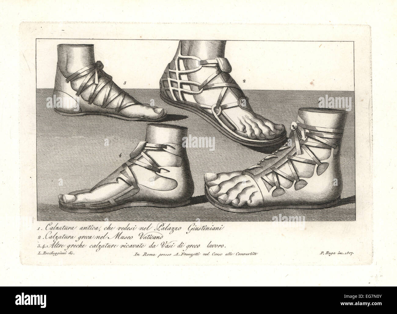 Ancient Greek shoes and sandals. - Stock Image
