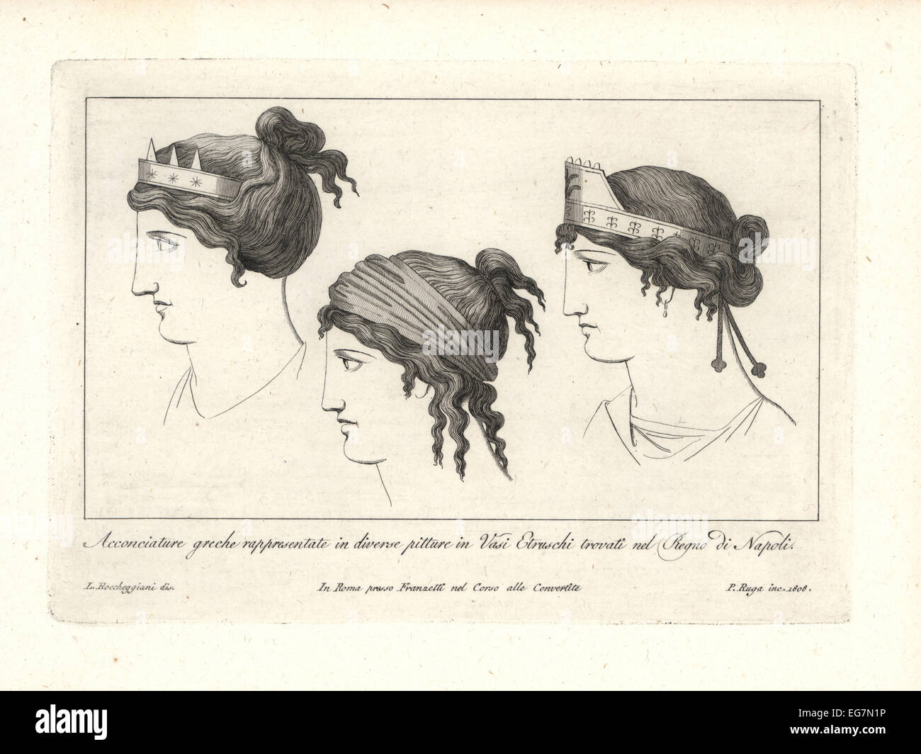 Greek hairstyles and tiaras from Etruscan vases found in the Kingdom of Naples. - Stock Image