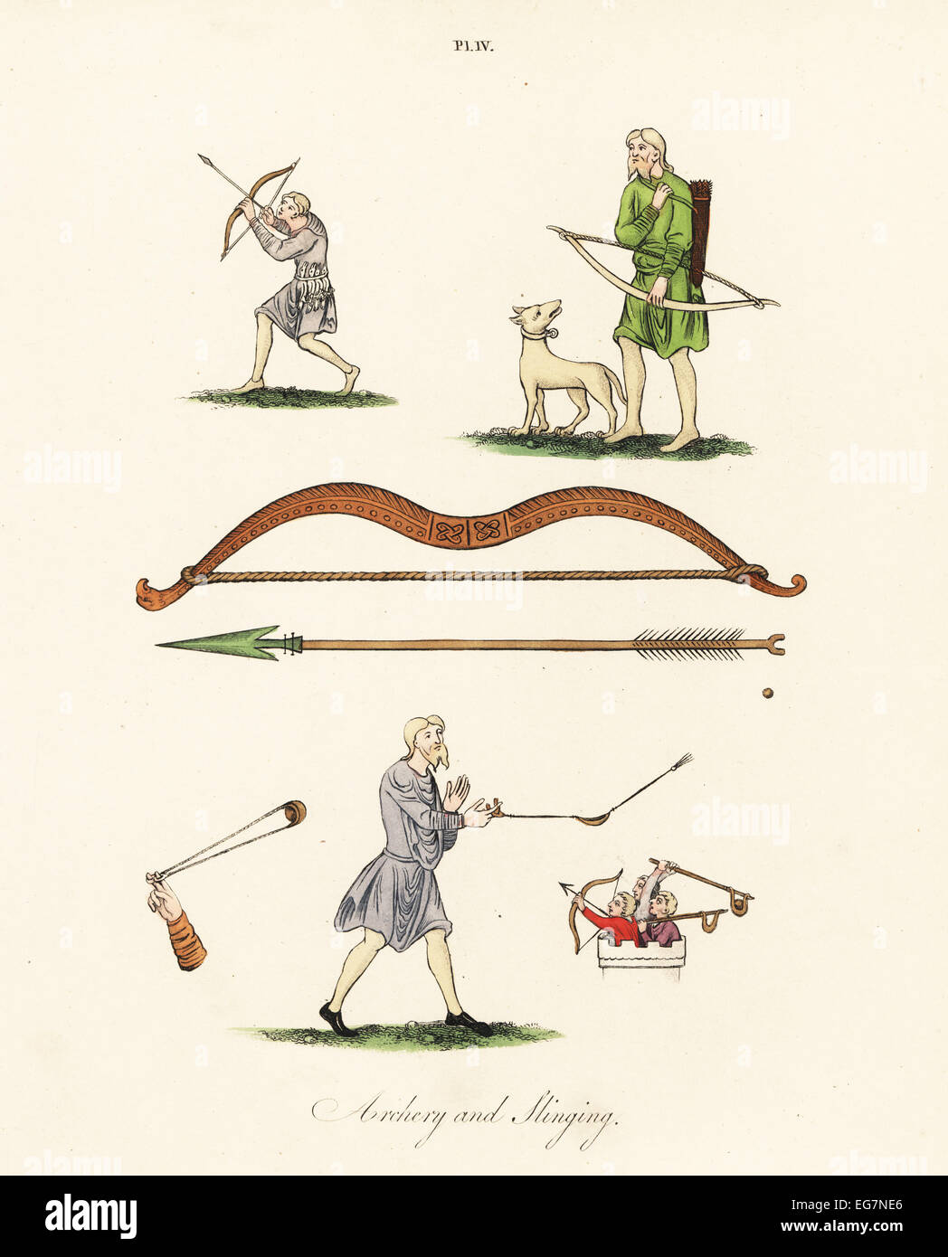 Saxon archers and slingers. - Stock Image