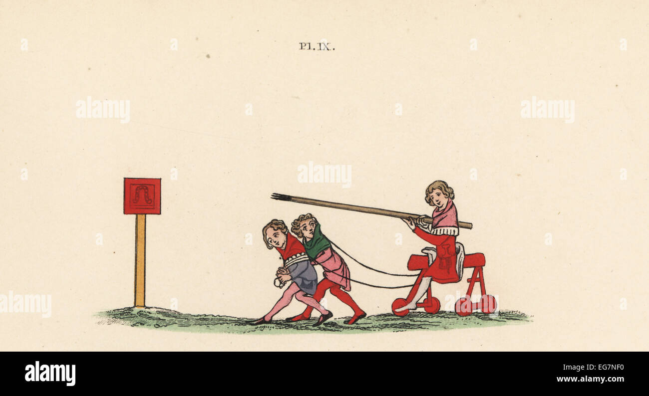 Boy on rolling trestle pulled by two other boys to tilt with a lance at a fixed quintain, 14th century. Handcoloured - Stock Image
