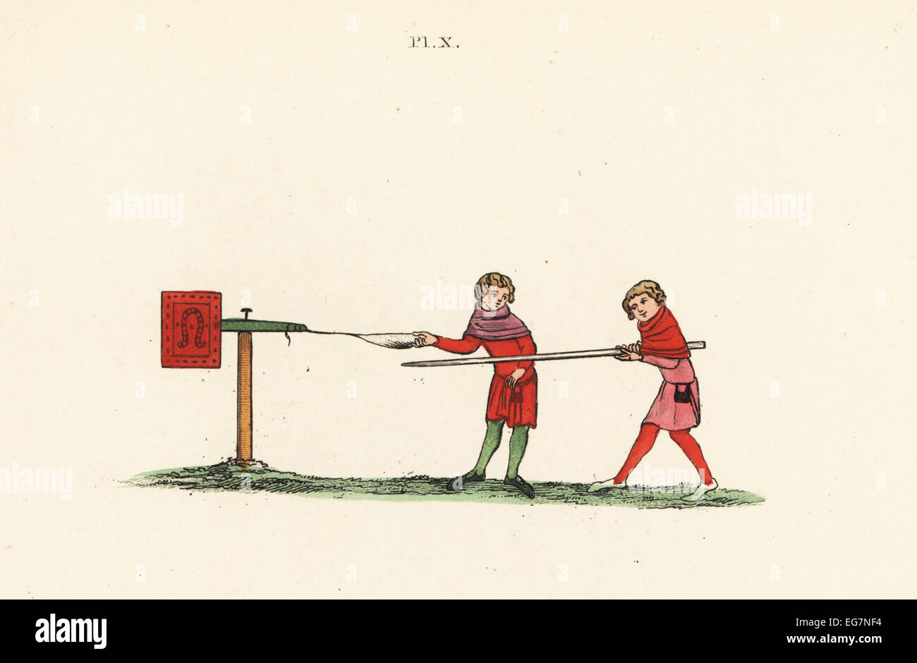 Boy with lance tilting at a mobile quintain operated by another boy, 14th century. Handcoloured lithograph by Joseph - Stock Image