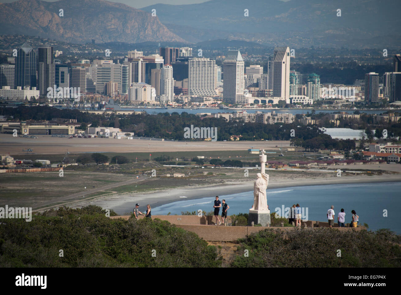 16C Portuguese explorer Juan Rodriguez Cabrillo monument on Point Loma in San Diego Southern California USA - Stock Image