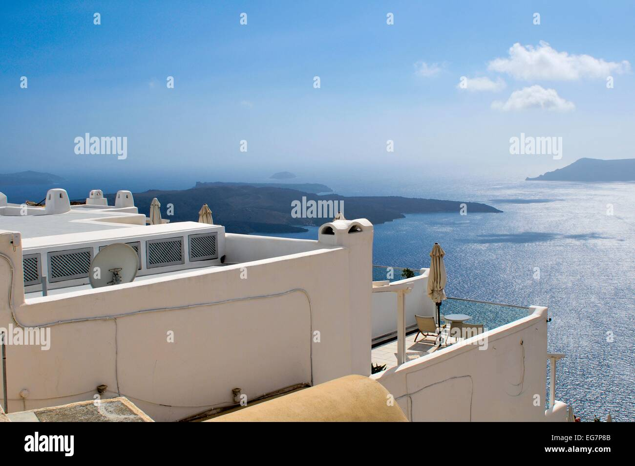 Looking from the the town of Fira, the capital of the island of Santorini (classically Thera, officially Thira) - Stock Image