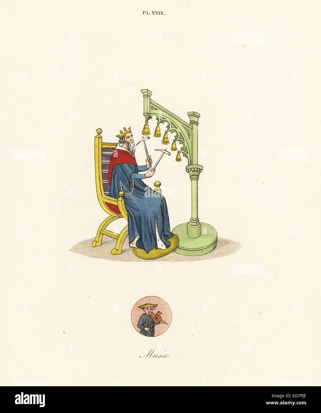 King David playing handbells with hammers from a 14th century manuscript of his psalms, with a vignette of a comedian Stock Photo
