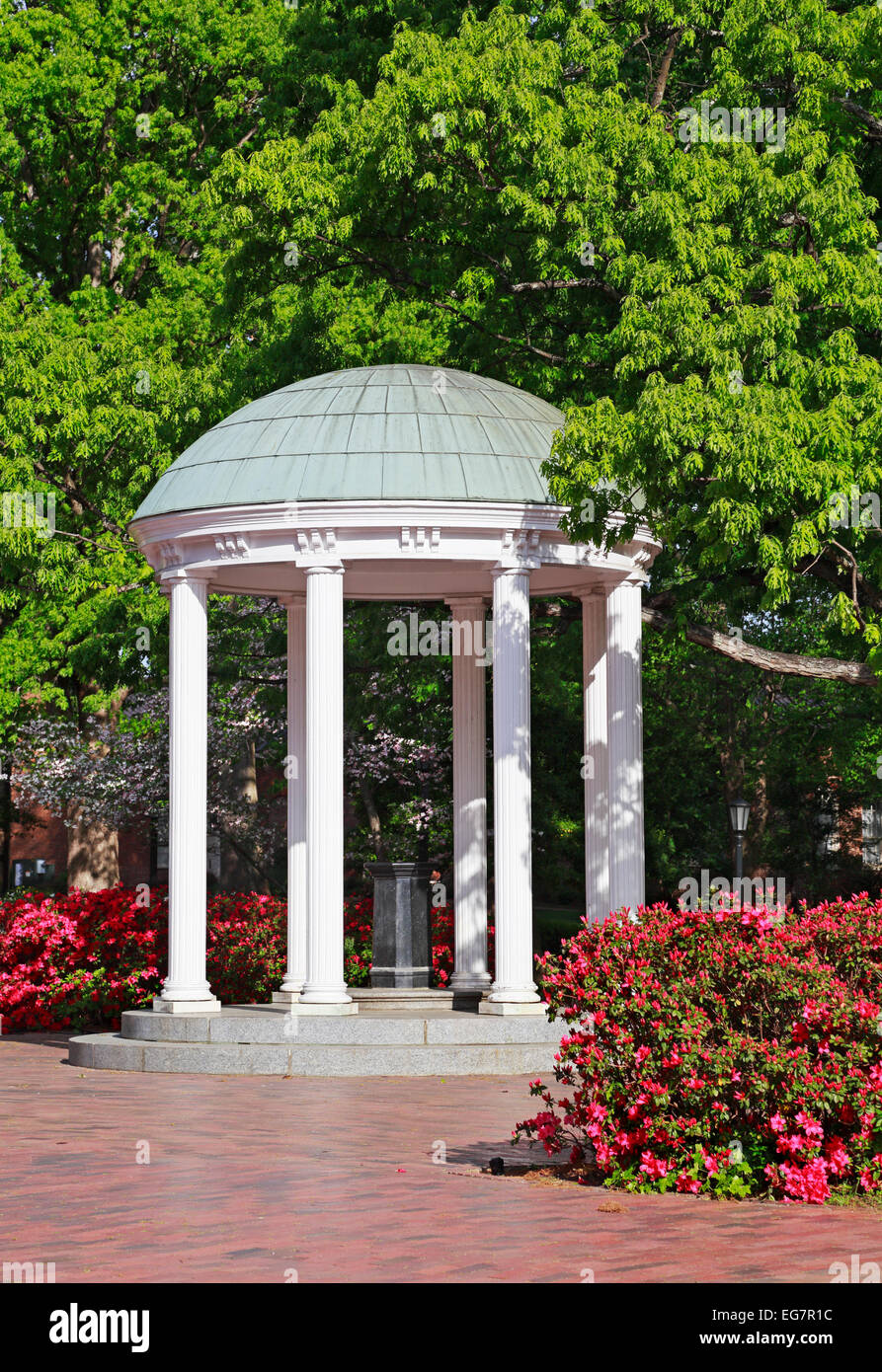 The old well at University of North Carolina at Chapel Hill (UNC), with pink Azaleas blooming. - Stock Image