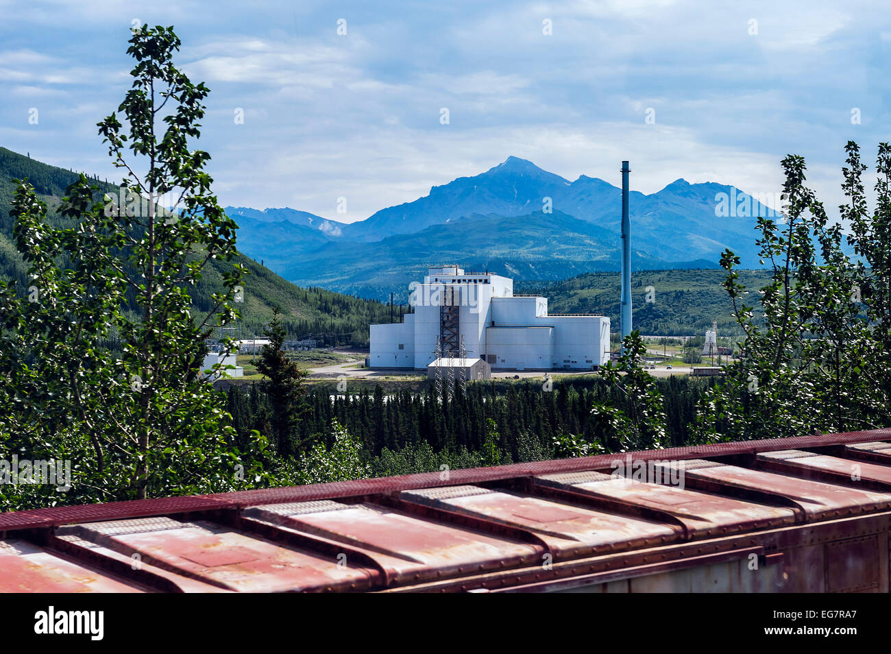 Coal power plant in Healy, Alaska, featuring state-of-the-art coal combustors and pollution controls, has passed - Stock Image