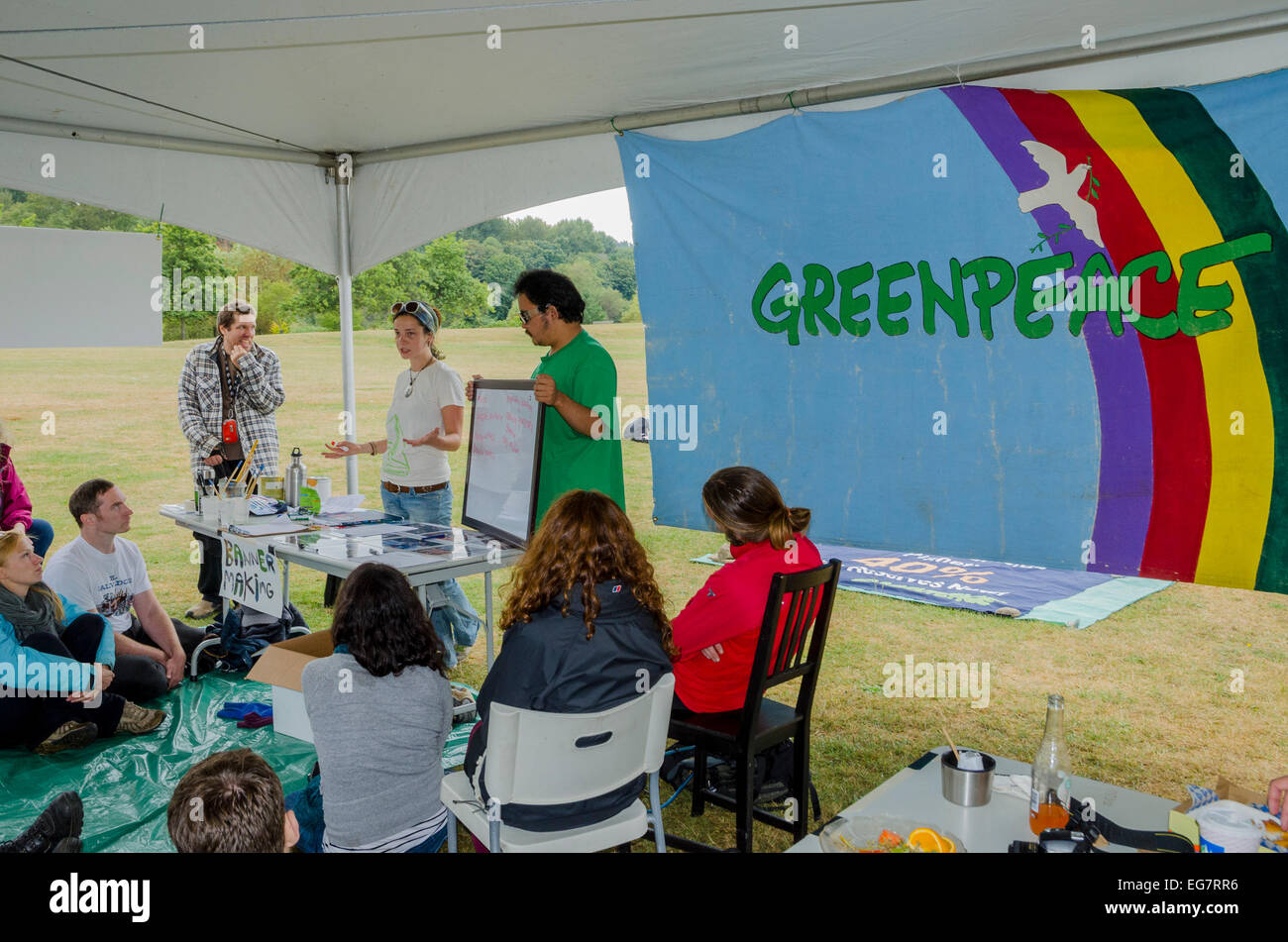 Greenpeace activists conduct civil disobedience workshop at the Rainbow Warrior Festival, Greenpeace 40th Anniversary - Stock Image